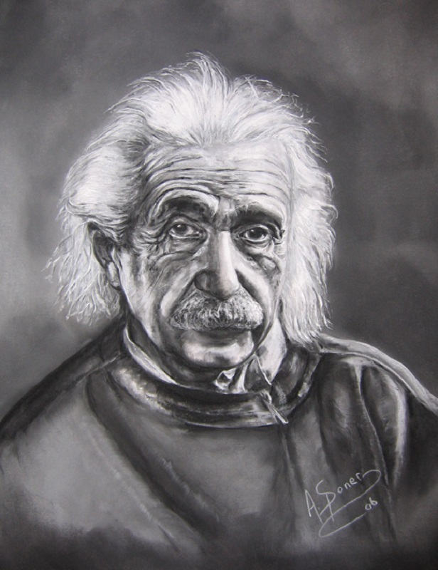 Albert Einstein, Theoretical Physicist  born in Germany - (March 14, 1879 � April 18, 1955),  a soft pastel painting, Women's Art Association of Hamilton 111th Annual Juried Exhibition.