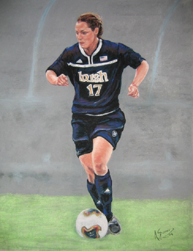 Melissa Tancredi, soft pastel painting, Melissa Tancredi Canadian National Soccer Team, Formerly University of Notre Dame.